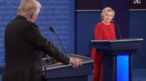 Donald Trump and Hillary Clinton meet at the first Presidential Debate, nbcnews.com
